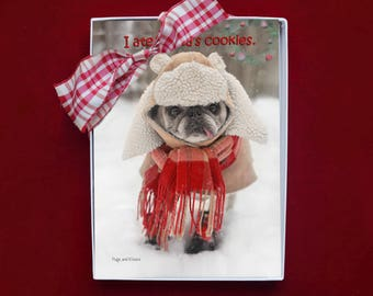 NEW BOXED CHRISTMAS Cards - I Ate Santa's Cookies - pug christmas cards - 5x7