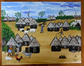 West African village scene, acrylic painting on canvas