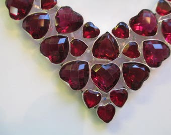 Hearts, Garnet Necklace, Bib Necklace, Valentine, Valentine's Day, Or Anytime, 32 Hearts, Wow. Give as Gift or Buy For Yourself, Adjustable