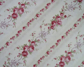 "Half Yard of Quilt Gate Mary R Collection Victorian Raspberry Roses Ribbons on Ivory Background. Approx. 18"" x 42"" Made in Japan."
