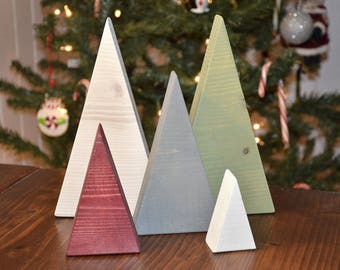 wood christmas tree triangle set - Wooden Christmas Tree
