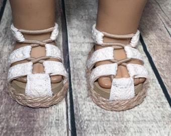Fits 18 inch dolls such as American Girl - Crochet Trim Sandals - Cream