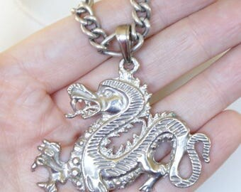 Vintage 12k White Gold Filled Charm Bracelet and Huge Sterling  Dragon