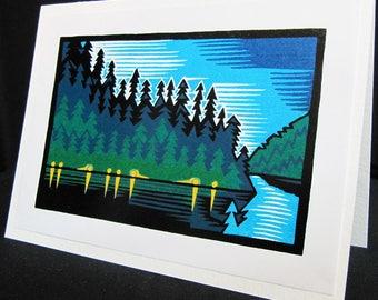 Hand pulled, woodblock printed greeting card, 'Lake Lights'.
