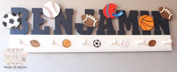 wood hat storage boys wall decor sports decor boys nursery decor boys sports