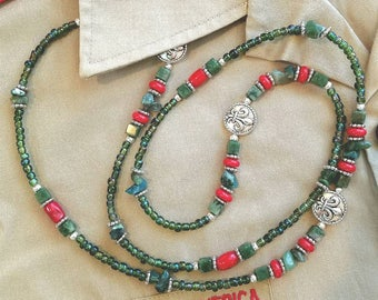 "Boy SCOUT Colors LONG Beaded NECKLACE with Pewter Fleur de Lis Beads 38"""