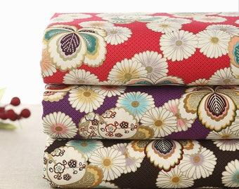 110 cm / 43 inch Width, Daisy Gilding Flower Floral Cotton Fabric, Half Yard