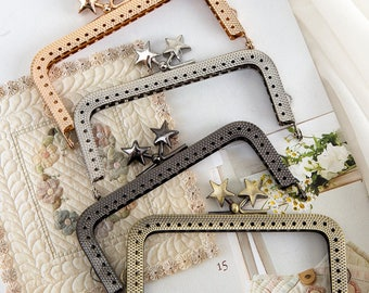 1 PCS, 8.5cm / 3 inch Width, Kiss Clasp Lock Frame for DIY Frame Purse with Star Beaded