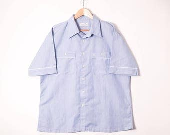 Vintage CHRISTIAN DIOR MONSIEUR Blue Oxford S/S Shirt with White Trim