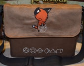 Messenger bag Fox embroidered Canvas and suede top