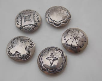Vintage Southwestern Silver Button Covers, Set of 5