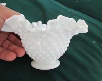 Fenton hobnail ruffled bowl