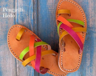 Sandals barefoot leather bibbed 28 waist