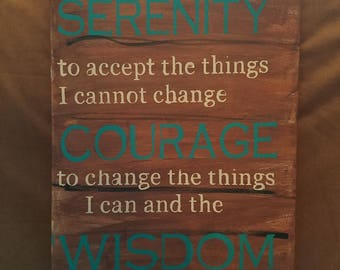 Hand Painted Canvas Sign Serenity Prayer