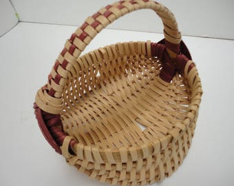 Small splint wood gathering basket with handle, decorative basket, round handmade rustic basket, country display, thick woven sturdy strong