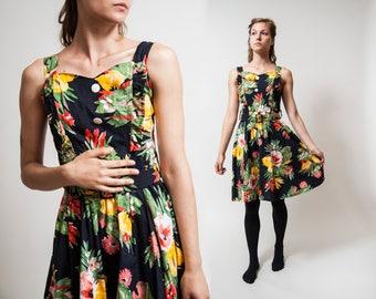 80s 90s Grunge Black Floral Mini Dress/ Open back Summer Dress/ Laura Ashley style dress  • Size Small to Medium •