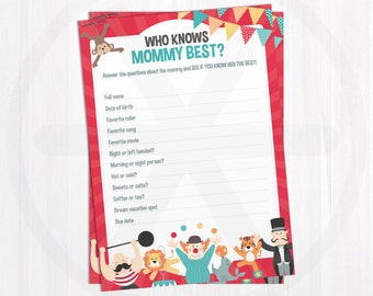 Who Knows Mommy Best Game Cards. How Well do you Know the Mommy? Carnival Baby Shower Games Printable. Baby Shower Activities. Circus Games
