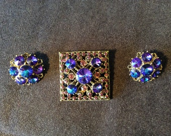 Vintage Brooch And Earring Set~Vintage Costume Jewelry~Antique Jewelry Set