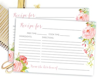Editable Recipe Card - Floral Recipe Card - Bridal Shower Recipe Card - Pink Recipe Cards - Editable pdf Recipe - 4x6 INSTANT DOWNLOAD Rosa