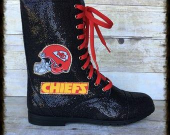Women's KC Chiefs Glitter Combat Boots