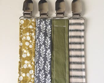 Pacifier Clip Paci Clip Binky Clip Toy Clip Teething Clip - Fabric Pacifier Clip