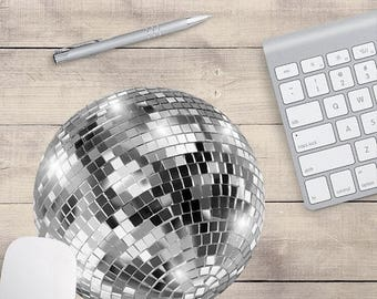 ON SALE: Silver Disco Ball Mouse Pad, Cute Mouse Pad, Sequin Mouse Pad, Disco Coaster, Disco Ball Coaster (0003)