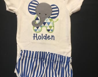 Baby Boy or Baby Girl Monogramed and Appliqued 2 Piece Gift Set,3, 6, 9 or 12 month Appliqued Bodysuit, Matching Diaper Cover with Monogram