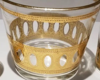 2 Culver Antiqua Doubled  Old Fashioned Glasses and Ice Bucket with 22k Gold cracked trim.