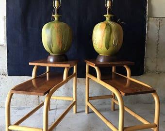 """Set of 2 Vintage 1970s XL Drip Glaze """"Melon"""" Lamps"""