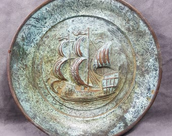 Vintage Copper Decorative Plate Made In England