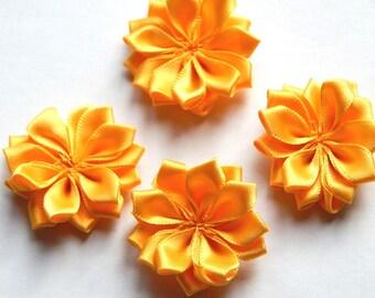 4 scrapbooking embellishment yellow ribbon fabric flowers