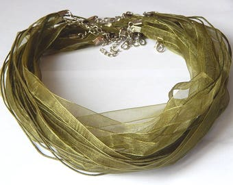 1 khaki organza necklace with lobster clasp 47cm