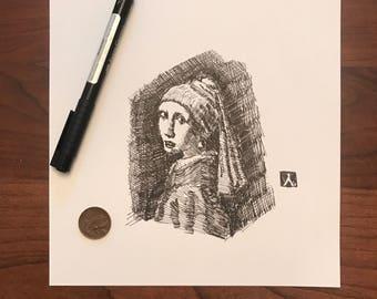 "KillerBeeMoto:  Original Pen & Ink Sketch of Rembrandt's ""Girl with a pearl earring"""