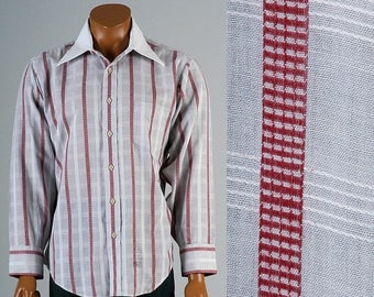 SALE Mens Vintage 70s MOD Red Gray Striped Shirt White Collar Long Sleeve Button Up 17
