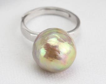 Baroque pearl ring,13mm natural metallic bronze color,freshwater pearl ring,big pearl ring,silver open ring,unique ring,unique gift for her