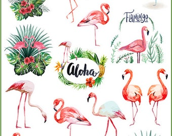16pcs Scrapbook Stickers --Filofax Stickers--Planner Stickers--Flamingo