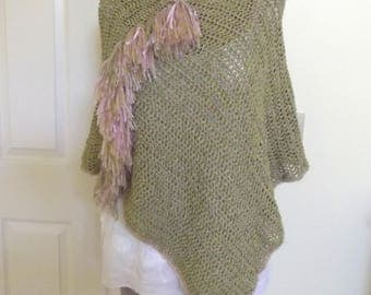 Crochet Poncho, Handmade Poncho, Pullover, Serape, Sweater, Rustic, Sage Green, Boho Clothing, Soft, Fringe, Fall Layer, Lagenlook