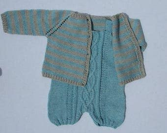 Blue cashmere and cotton 3 month baby romper