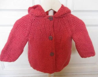 Baby hooded Cardigan pink Alpaca 3 months