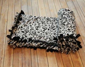 """Music Note Design Fleece Blanket No Sew Fleece Blanket Large 54"""" x 68"""""""