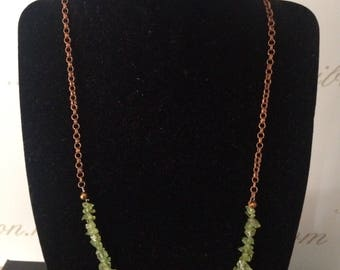 Peridot chips necklace