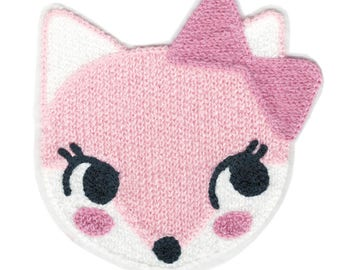 Large & Cute Xl 14cm Chenille Pink Cat Patch Applique