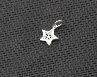 2Pcs Sterling Silver Tiny Star Pendants -- 925 Silver Charms Wholesale For Bridesmaid Gift Party XXSP-Q0055