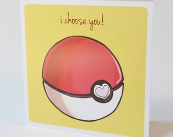 Geeky Romance Card, Pokemon Pokeball Design, sweet nerdy valentine proposal anime video game cards