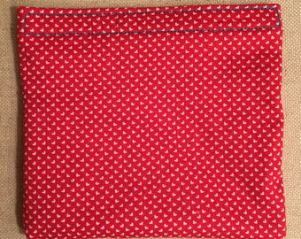 Holiday Collection Valentine's Day Heart-throb Red - Reusable Bag - Sandwich Bag - Waterproof Bag - PUL Fabric - 100% Cotton