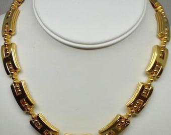 Vintage Monet choker necklace links gold tone