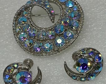 Vintage 1960s brooch and earrings set aurora borealis rhinestones silver tone