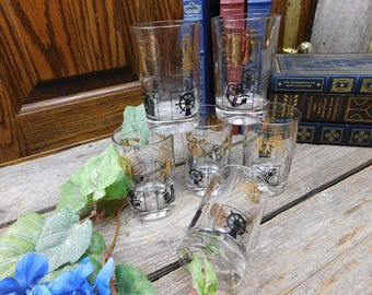 Set of 6 Vintage Mid Century Gold and Black Nautical Juice Glasses