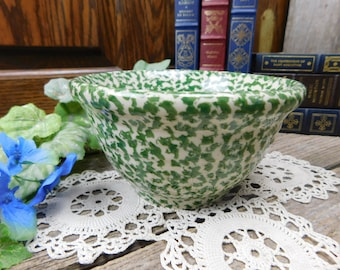 Vintage Green Roseville Spongeware Mixing Bowl - THE WORKSHOPS of Gerald E. Henn