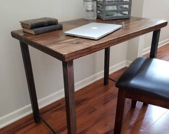 Steel and Wood Desk - Square Leg Style